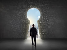 Free Business Man Looking At Keyhole With Bright Cityscape Concept Royalty Free Stock Images - 86809509