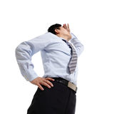 Business man looking away to copy space. Successful business man looking away isolated on white background, asian Stock Photography