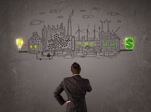 Business man looking at factory that makes money from ideas stock illustration
