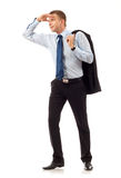 Business man looking forward. Looking forward with big expectations - business man on white background stock photo