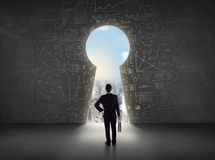 Business man looking at keyhole with bright cityscape concept. Background Stock Photos