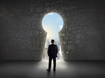 Business man looking at keyhole with bright cityscape concept Royalty Free Stock Image