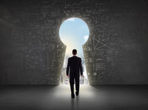Business man looking at keyhole with bright cityscape concept royalty free illustration