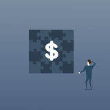 Business Man Looking At Puzzle With Dollar Sign Solution Strategy Concept Stock Photography