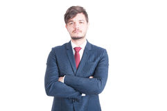 Business man looking sad posing with arms crossed Royalty Free Stock Images