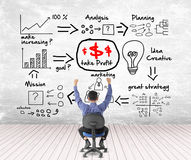 Business man looking success with profit concept Stock Photos