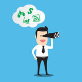 Business man looking through a telescope, business vision Royalty Free Stock Photos