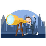 Business man looking into telescope search oportunity Royalty Free Stock Photography