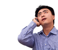 Business man looking up talking by Royalty Free Stock Photo