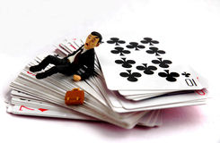 Business man loses in gambling game Stock Photo