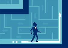 Business man lost in labyrinth. Vector picture of businessman confused with direction being lost in maze royalty free illustration