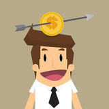 Business man with Lou arrow to coin placed on middle head Stock Photography