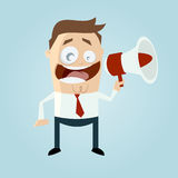 Business man with loudhailer stock illustration