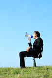 Business Man with loudspeaker Stock Image