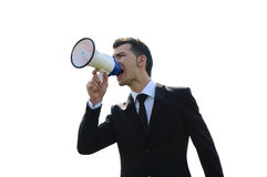 Business Man with loudspeaker Stock Photography
