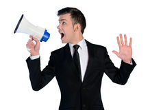 Business man with loudspeaker Royalty Free Stock Photos