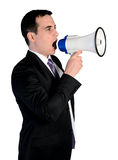 Business man with loudspeaker Royalty Free Stock Image