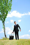 Business Man with luggage Stock Photo