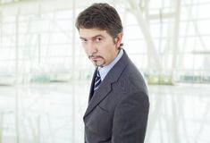 Business man. Mad business man portrait at the office Royalty Free Stock Photography