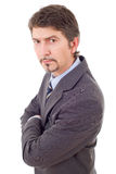 Business man. Mad business man portrait  on white Royalty Free Stock Image