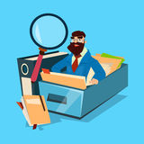 Business Man With Magnifying Glass Finance Documents Analysis. Flat Vector Illustration Royalty Free Stock Photo
