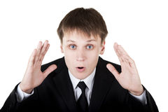 Business man make surprised face Royalty Free Stock Photo