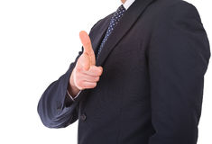 Businessman making gun hand gesture. Royalty Free Stock Photos