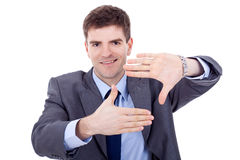Business man making a hand frame Royalty Free Stock Photo