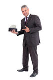 Business man making money. Isolated on white background royalty free stock image