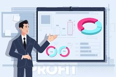 Business man making a presentation at office.Vector illustration stock illustration