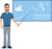 Business man making presentation near whiteboard Stock Image