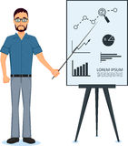 Business man making presentation near whiteboard Royalty Free Stock Images