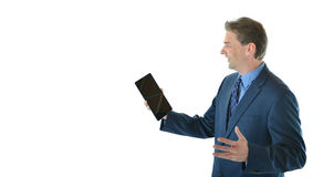 Business man making a presentation. Using a tablet Stock Photo