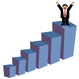 Business man making profit. Well dressed business man on top of a ascending stacked diagram Royalty Free Stock Image