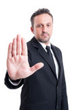 Business man making stop gesture Royalty Free Stock Photos