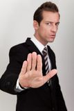 Business Man Making Stop Sign Stock Images