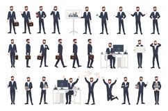 Business man, male office worker or clerk with beard dressed in smart suit in different postures, moods, situations. Flat cartoon character isolated on white stock illustration