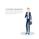 Business Man Manager Hold Suitcase, Businessman Formal Wear Banner With Copy Space Stock Images