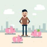 Business Man With Many Piggy Banks Put Money Savings. Flat Vector Illustration Stock Photos