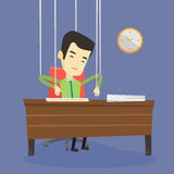 Business man marionette on ropes working. Royalty Free Stock Image