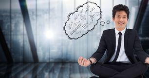 Business man meditating against blue window with thought cloud showing math doodles. Digital composite of Business man meditating against blue window with Stock Photography