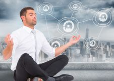 Business man meditating against skyline with white network doodle. Digital composite of Business man meditating against skyline with white network doodle Royalty Free Stock Photos