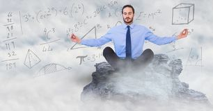 Business man meditating on mountain peak among clouds against math doodles. Digital composite of Business man meditating on mountain peak among clouds against Stock Images