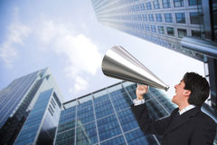 Business man with megaphone Royalty Free Stock Images