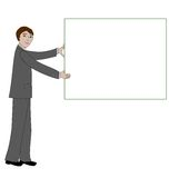 Business man with message board Royalty Free Stock Photography