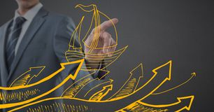 Business man mid section pointing behind yellow boat doodle against grey background Royalty Free Stock Photography