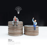 Business man miniature figure concept idea to success business. royalty free stock photography