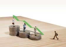 Business man miniature figure concept idea to success .