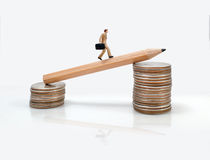Business man miniature figure concept move to success business f Stock Images