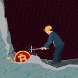 Conceptual business illustration bitcoins. Business man mining bitcoins unaware of the danger that threatens him Stock Photography